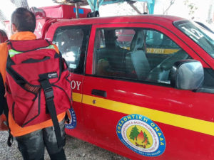 Firefighter in Chios Greece wearing the MVP Hosepack